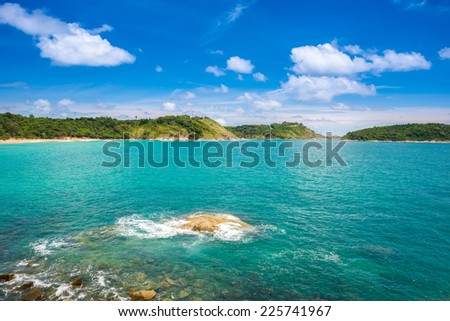 Tropical seascape with islands at Thailand, vacation background