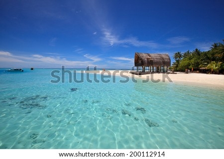 Tropical seaside in the Indian Ocean. Clear blue lagoon with corals and reef fish, and tropical island on the horizon. - stock photo