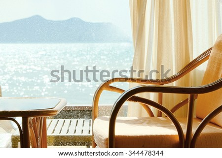 Tropical Seaview Through Window - stock photo