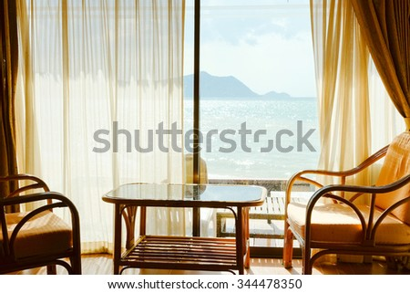 Tropical Seaview Through Window