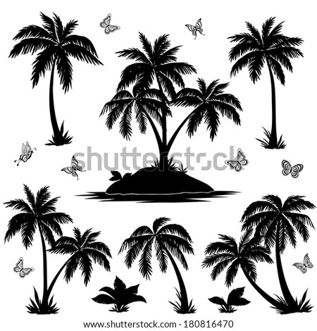Tropical set: sea island with plants, palm trees, flowers and butterflies, black silhouettes isolated on white background. - stock photo