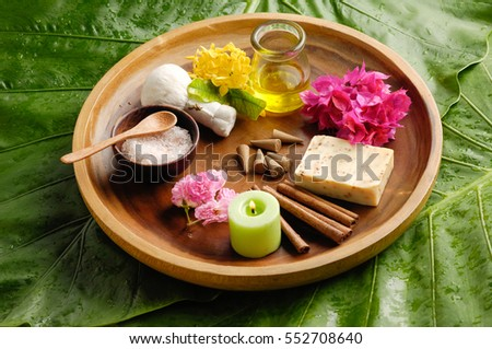 Tropical setting and green leaf
