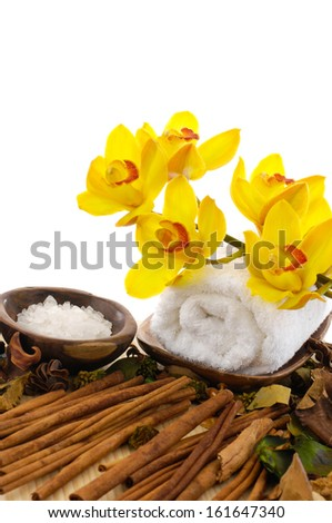 tropical spa with pile of cinnamon  - stock photo