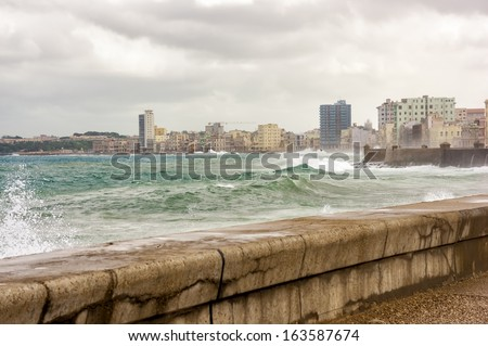 Tropical storm in Havana with a view of the skyline - stock photo