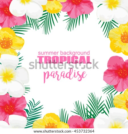 Tropical Summer Poster with Exotic Flowers, Palm Leaves.Illustration for Banner, Backdrop, t-shirt, Greeting Card, Textile - stock photo