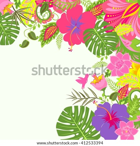 Tropical summery background - stock photo