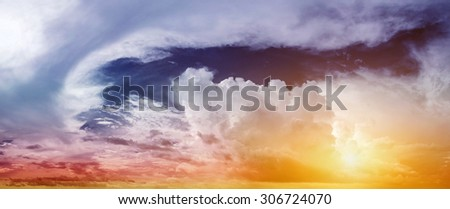 Tropical sunrise. Art summer background - stock photo