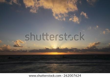 tropical sunrise Caribbean Sea beach tulum mexico - stock photo