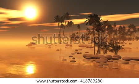 tropical sunset in the ocean on the island with palm trees, a banner, 3D rendering - stock photo