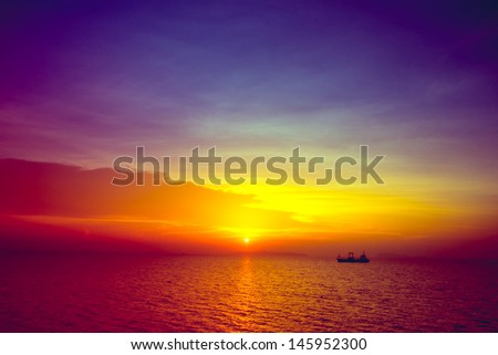 Tropical sunset on the beach. Ao-Nang. Krabi. Thailand - stock photo