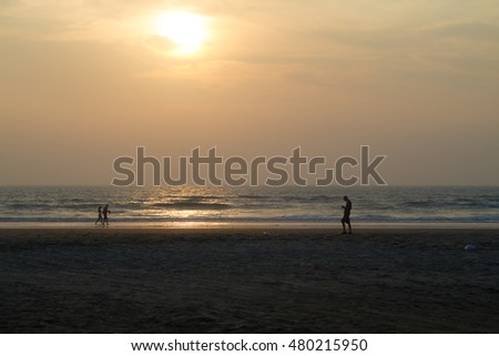 Tropical sunset on the beach in Goa, India