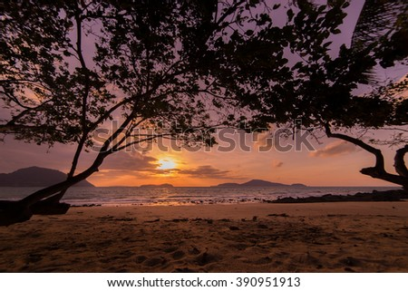 Tropical sunset on the beach in Thailand