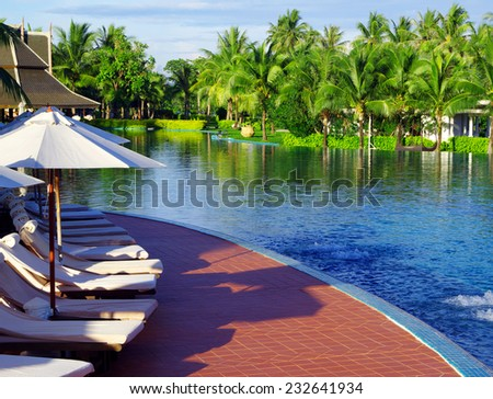 Tropical swimming pool in thailand - stock photo