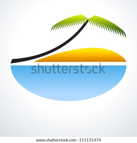 Tropical Vacation Icon. Palm Tree, blue sea and sand. Travel Design - stock photo