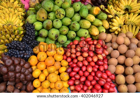 tropical variety fruit put on sale in the market