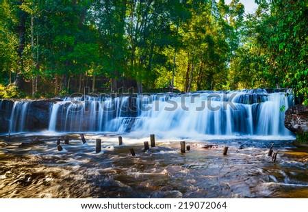Tropical waterfall Phnom Kulen, Cambodia - stock photo