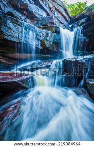 Tropical waterfall. Popokvil Waterfall, Bokor National Park, Cambodia - stock photo