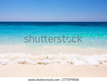 Tropical white sand beach arainst blue sky. Similan islands, Thailand, Phuket. - stock photo