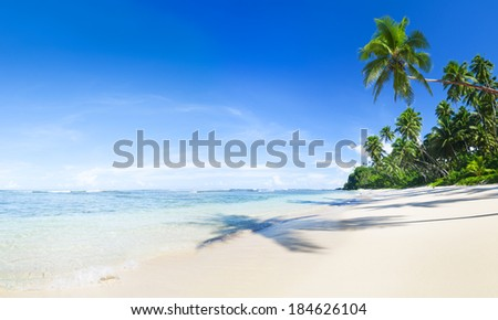 Tropical White Sand Beach in Samoa - stock photo