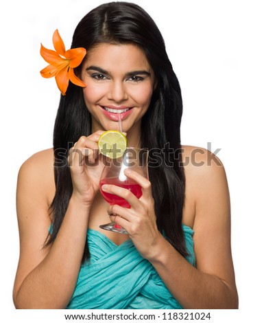 Tropical Woman with a Drink