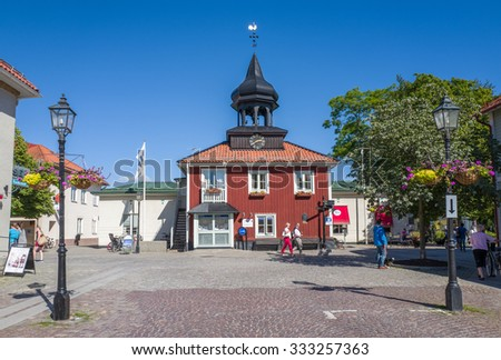 TROSA, SWEDEN - AUGUST 19: The old city hall on August 19, 2015 in Trosa. Trosa is an idyllic and historic seaside town south of Stockholm and a popular tourist destination during summer time.
