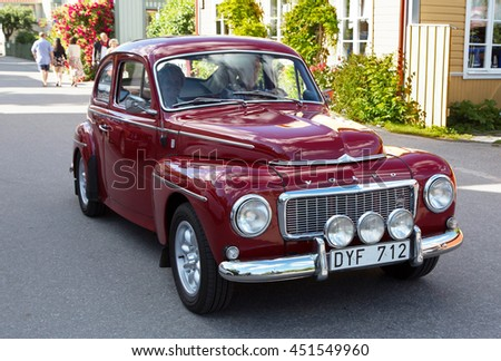 TROSA SWEDEN July 7 2016. Volvo PV 544, red. Year 1965.