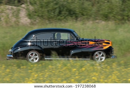 TROSA, SWEDEN - JUNE 5 2014, CHEVROLET FLEETMASTER, model 1948. This car is headed for a veteran car meeting in the small town of Trosa in Sweden.