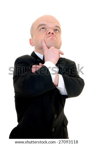 Troubled little businessman, dwarf in a formal suit with bow tie, studio shot, white background - stock photo