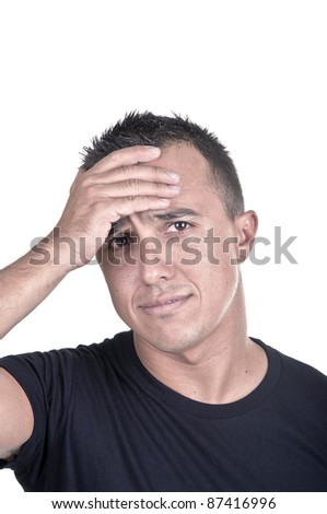 troubled young man on white background - stock photo