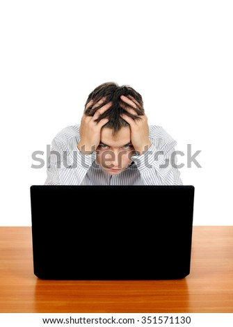 Troubled Young Man with Laptop Isolated on the White Background
