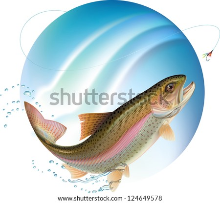 Trout jumping for the bait with water sprays around. Raster. Check my portfolio for a vector version. - stock photo