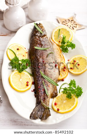 Trout with lemon and rosemary for christmas