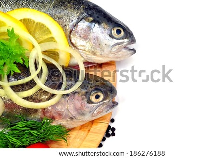 trout  with vegetables  - stock photo