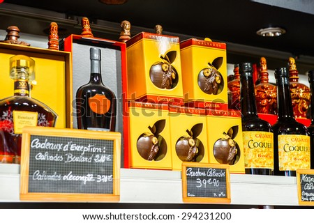 TROUVILLE, FRANCE - JUN 7, 2015:  Alcoholic drinks shop in Troville, the town in the Calvados Department of France. Too much alcohol is bad for the health