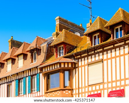 TROUVILLE, FRANCE - JUN 7, 2015: Houses of Trouville, Normandy, France. Trouville is a village of fishermen and a popular tourist attraction in Normandy