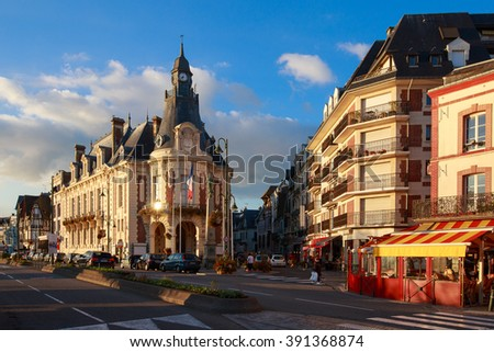 Trouville, France - October  9, 2015: Old hotel in Trouville, Normandy, France - stock photo