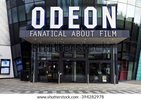 TROWBRIDGE, UK - MAR 21, 2016: View of an Odeon cinema in the town centre. Odeon operate 124 cinemas across the UK and Ireland.