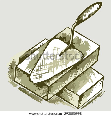 Trowel and bricks. Shades of green and yellow. Raster version - stock photo