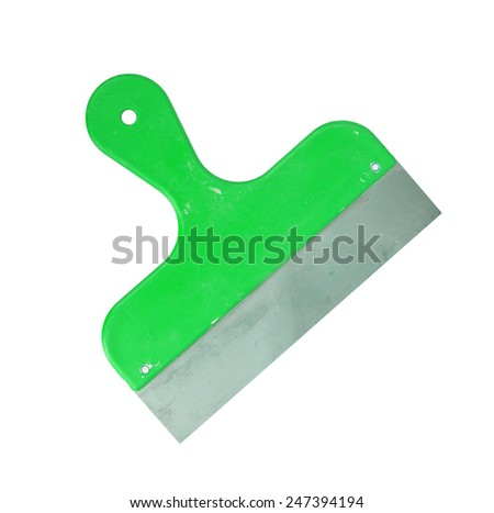 Trowel isolated tool coverage in construction, green - stock photo