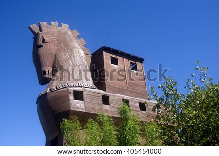 TROY - APRIL 23 : Repica of the famous wooden Trojan horse at April 23, 2012 in Troy, Turkey. Troy is one of the most important ancient ruines town in Turkey. - stock photo