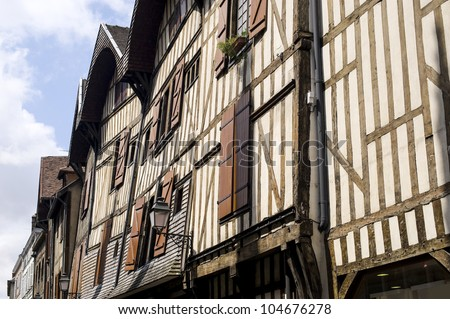 Troyes (Aube, Champagne-Ardenne, France) - Ancient half-timbered buildings - stock photo