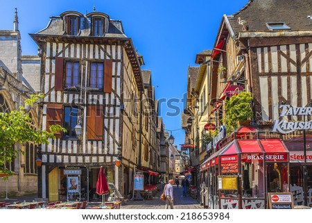 TROYES, FRANCE - MAY 17, 2014: Views of old town. Troyes - capital of Aube department (Champagne region) in north-central France. Many half-timbered houses (mainly of 16th century) survive in old town