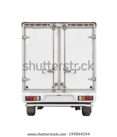 Truck and cargo container isolated on white background. - stock photo