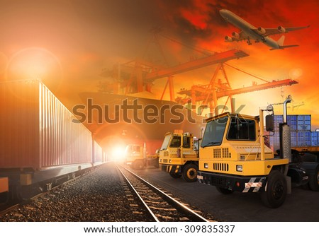 truck and container trains in shipping port for logistic and transportation business