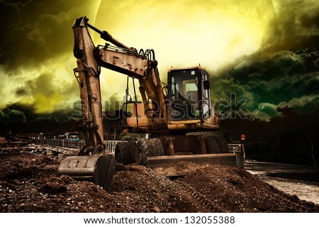 Truck backhoe - stock photo
