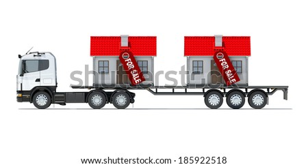 Truck carries two houses. Isolated render on a white background