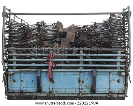 Truck carry a lot of steel pipes. - stock photo