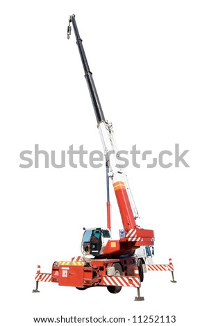 Truck Crane isolated on white background - stock photo