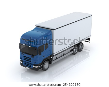 Truck 3d render isolated on white background - stock photo