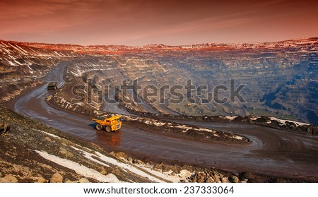 Truck, delivery by the motor transport of iron ore from a pit - stock photo